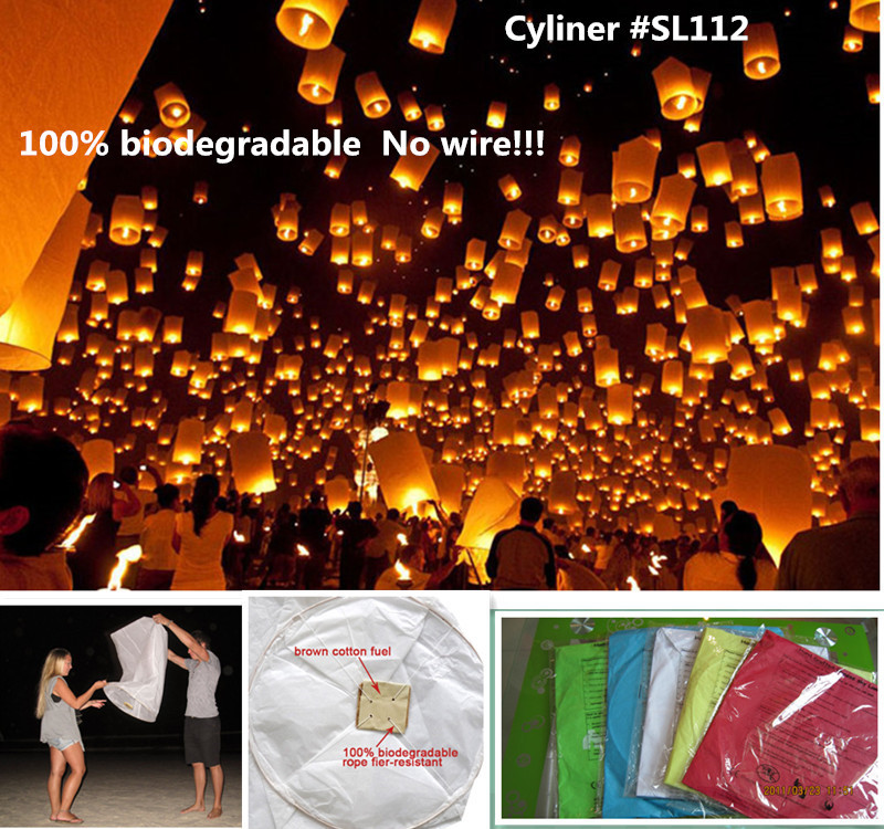 Cylinder shape 10pcs/lot columned paper flying sky lantern with wax fuel biodegradable wedding/party decorations free shipping(China (Mainland))