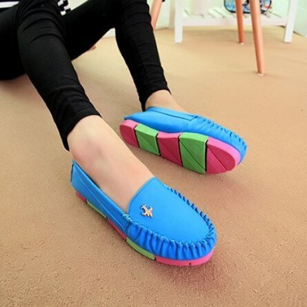 2015 new good quality women PU leather shoes flats sneakers colour fashion casual platform waterproof soft