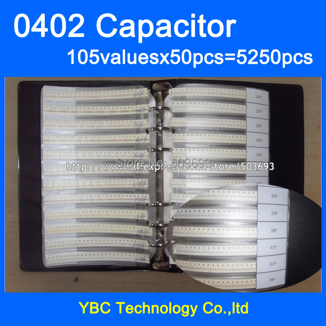 Free Shipping 0402 muRata SMD Capacitor Sample Book 105valuesX50pcs=5250pcs 0.1PF~10UF Capacitor Assortment Kit Pack(China (Mainland))