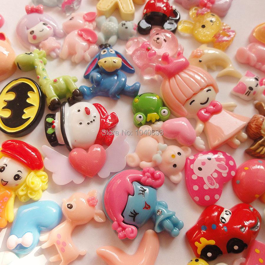 50pcs/lot girl/Snowman/car/love/bow/mushroom/deer mix flat back animal Toy Resin Christmas Children Gift Home Decoration Crafts(China (Mainland))