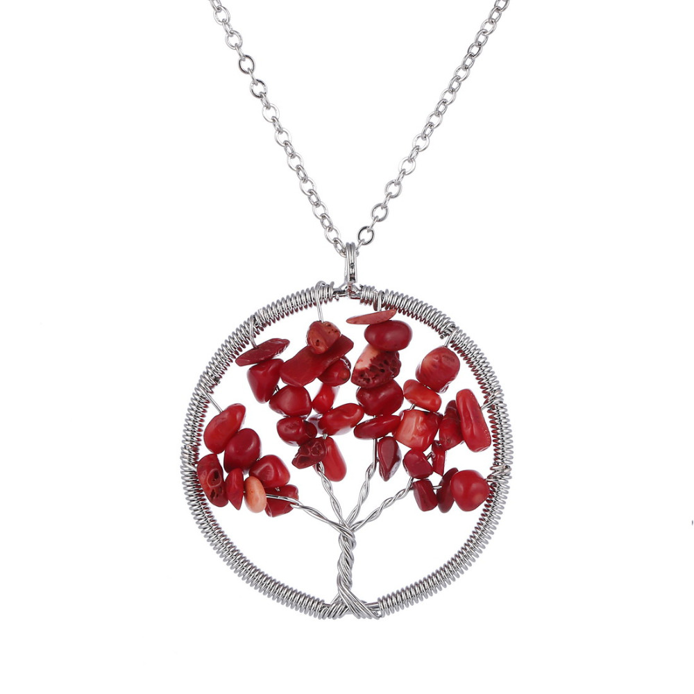 Women's Wisdom Life Tree Pendant Necklace Red Coral Necklace Silver Plated Chain Necklace Fashion Jewelry(China (Mainland))