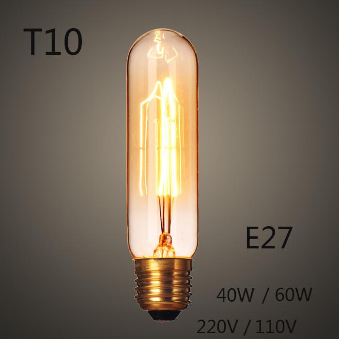 New T10  Edison Light Bulb E27 Incandescent Light 40W 60W 220V 110V Lamps Filament Bulb Edison Lamp for Home Decoration Lighting<br><br>Aliexpress