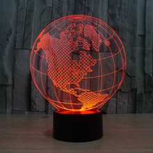 Night Light For Children Table Lamp America globe 3D seven color vision stereo light touch switch acrylic lamp(China (Mainland))