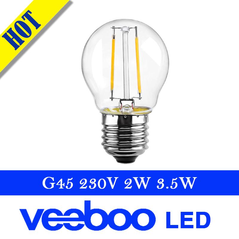 Retro edison 2w 3.5w P45 G45 filament light LED bulb warm white 25W 40W Equivalent bulb 360 Degree replace incandescent lamp(China (Mainland))