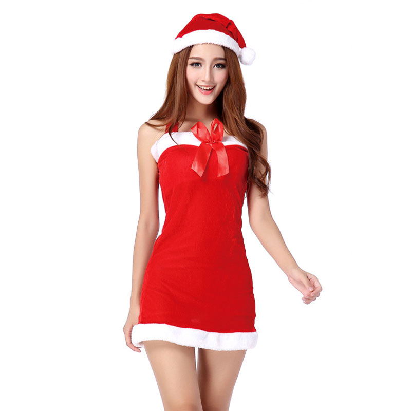 Sexy Women Christmas Costume Party Dress Santa Claus Bow Dress Clothing Red Dress with Hats for Women Christmas Clothes(China (Mainland))