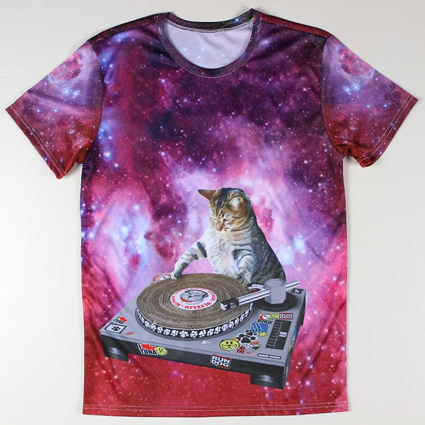 Funny Rock and Roll DJ Cat Men T Shirt Costume O Neck Fashion trend Male 3D Printed t-shirts Galaxy Anime Boys Tops Short Sleeve(China (Mainland))