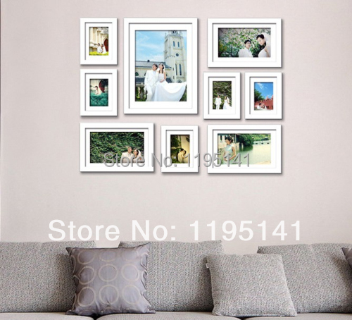 free shipping 9 pcs eco friendly photo frames set wall photo frame collage picture frame