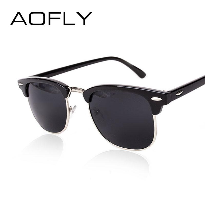AOFLY CLASSIC Half Metal Sunglasses Men Women Brand Designer Glasses G15 Coating Mirror Sun Glasses Fashion Oculos De Sol PS1580