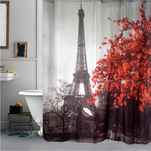 Eiffel Tower & Flower Waterproof Shower Curtain Polyester Fabric Bath Bathing Bathroom Curtains with Hooks for Home Decorations(China (Mainland))