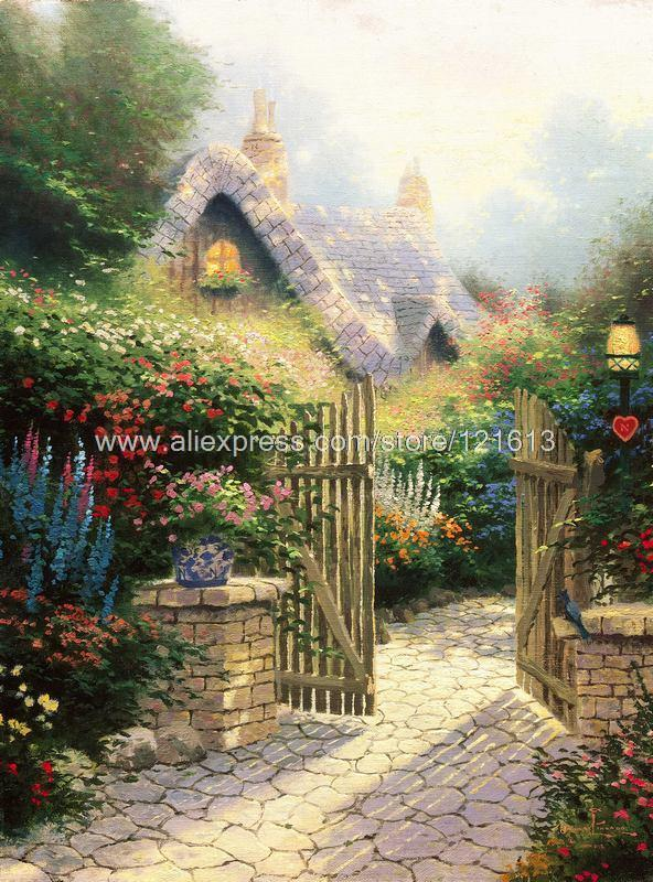 Buy Thomas Kinkade Prints Of Oil Painting Hidden Cottage Landscape Painting