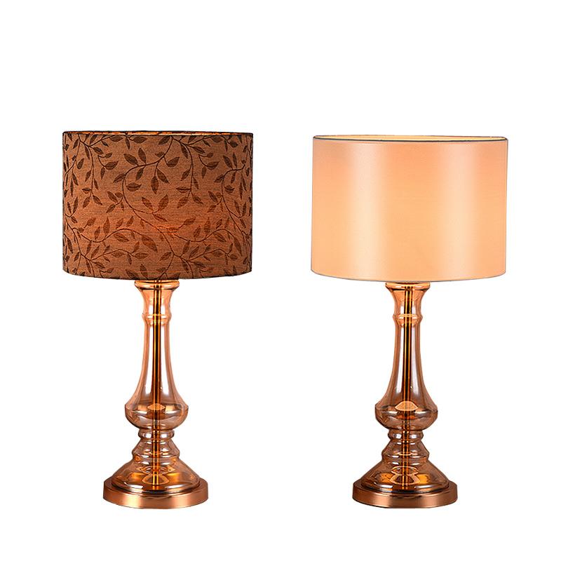Modern Table Lamps For Bedroom Plating Gold Glass Bedside Lamp Silver Brown Fabric abajur luminaria de mesa e27 110-240V(China (Mainland))