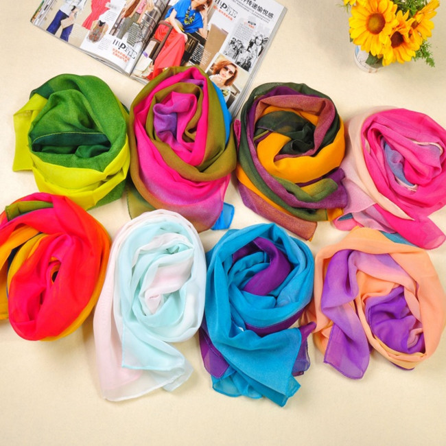 Chiffon Neck Scarf shawl cape Women's summer Scarves Wrap Korean Style Rainbow Colorful Gradient vogue(China (Mainland))