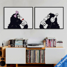 Buy 2pcs/lot Modern Fashion Animals Lover Art Canvas Prints Poster Monkey 0n Canvas Living Room Home Decor Wall Paintings DP0104 for $9.07 in AliExpress store