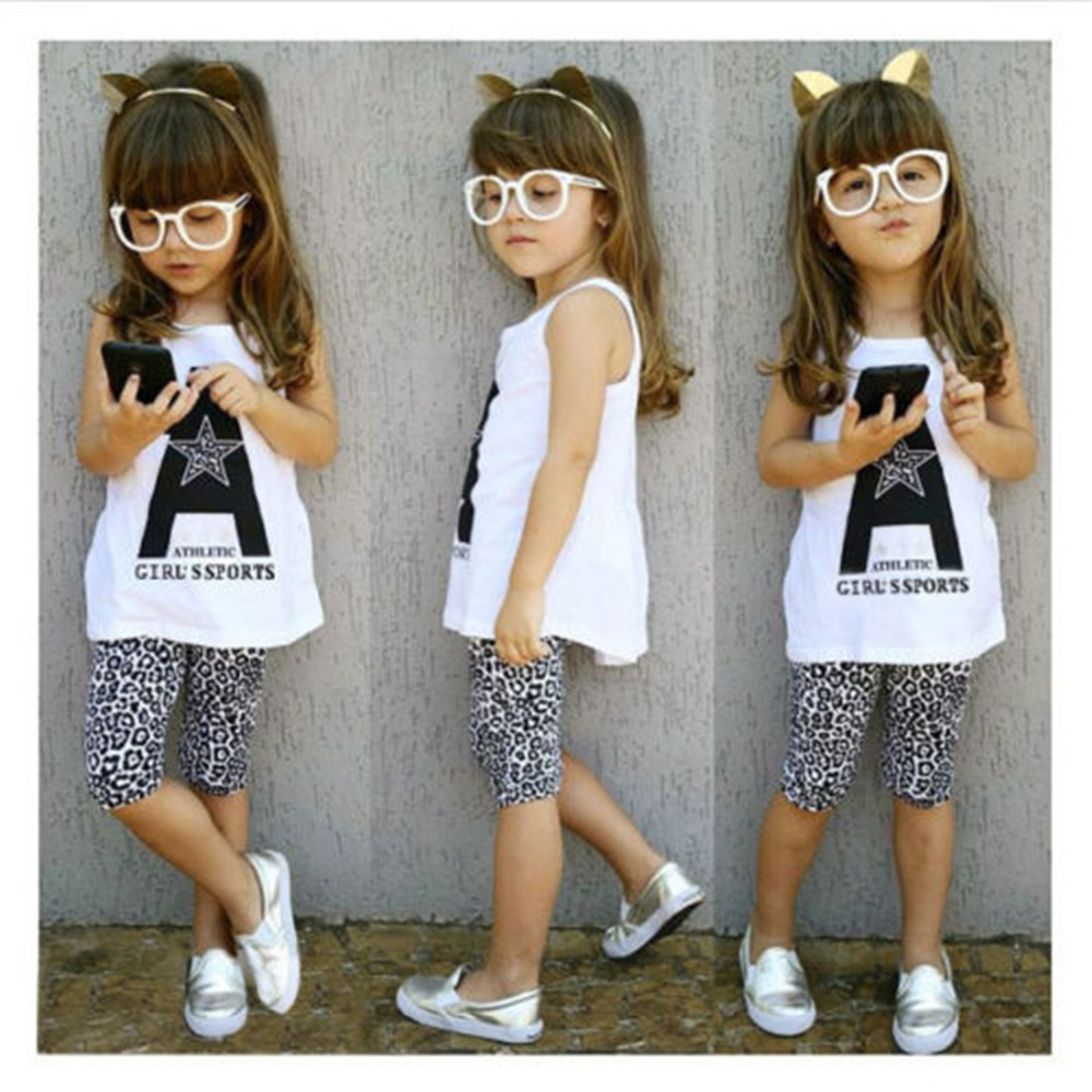 2pcs Toddler Kids Baby Girl Outfits Summer Top T-shirt+Leopard Pants Clothes Set Free shipping(China (Mainland))