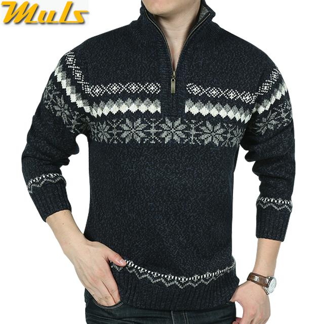 В продаже зимой свитер мужчин толщиной 1/4 молния пуловеры мужчины известный бренд ...