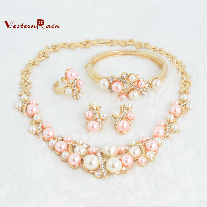 WesternRain 2015 New Products 18k Gold Plated Peal Jewelry Romantic Pearl Necklace Jewelry Sets For Bridal,Free Shipping Bijoux(China (Mainland))