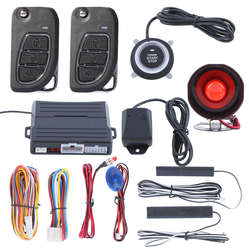 Remote engine start push start button smart PKE car alarm system with passive keyless entry auto lock or unlock car door(China (Mainland))