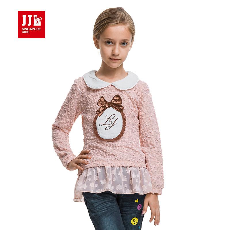 girls t shirt long sleeve kids winter bottomming shirt sweet lace hem girls shirts kids blouse winter 2015 new arrival<br><br>Aliexpress
