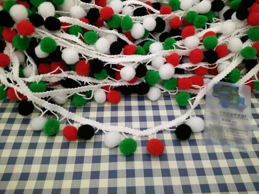 Christmas Hot selling Dip Dye ombre ball fringe Tassel Handmade 3.0cm (Ball : 2.0cm)(China (Mainland))