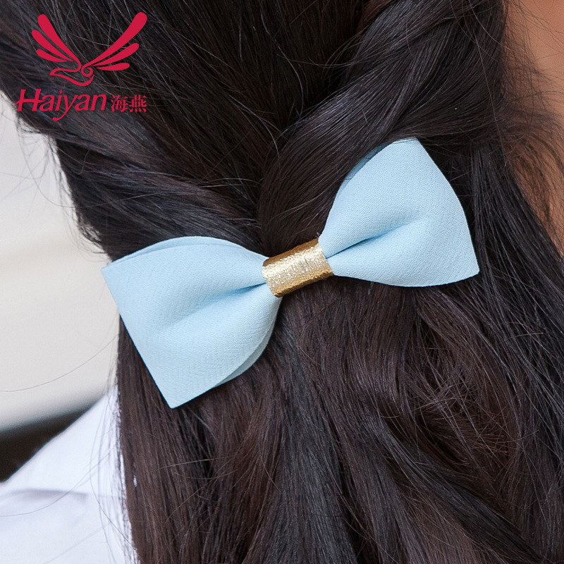 2015 New Korean Geometric Adult Barrettes Fashion Women Nylon Polyester Silk Hair Bow Wire Simple Hairpin Side Clamp Top(China (Mainland))