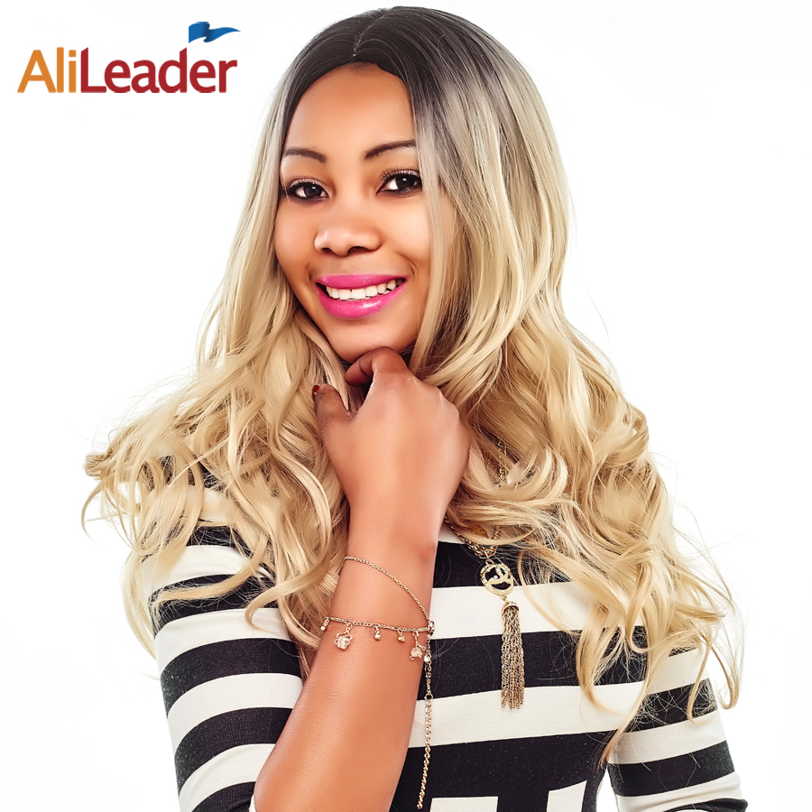 "AliLeader 26"" Body Wave Long Hair Wig Black Women, Blonde Brown Silver Omber Color Kanekalon Synthetic None Lace Front Wig"