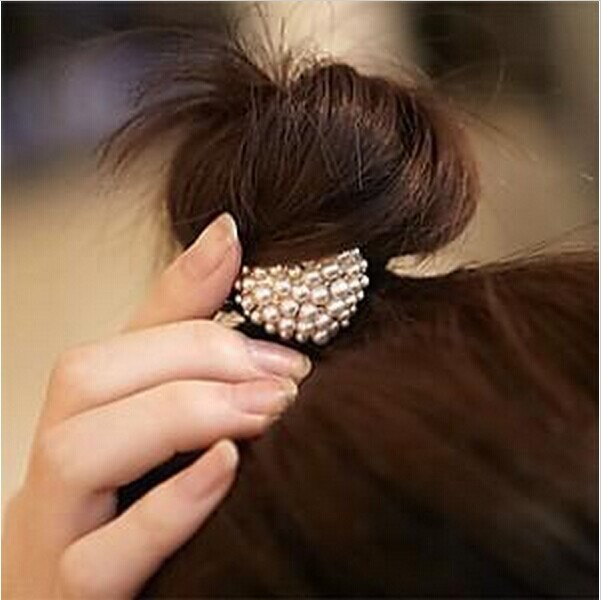 JW26 Charms Headdress Elastic hairband Pearl Heart Hair Clip Free Shipping(China (Mainland))