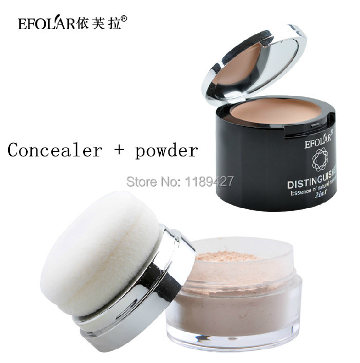 1pcs maquiagem foundation face care bare minerals Natural Skin brand Makeup primer Loose Powder +concealer with Sponge Puff(China (Mainland))