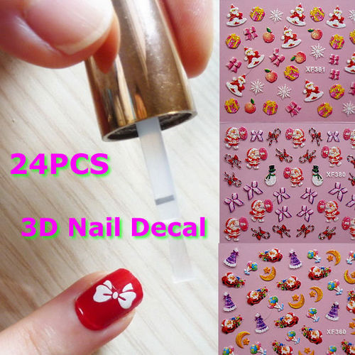 G104Wholesale Colorful Father Christmas Tree Snow Design 3D Nail Art Stickers Sheet Decal Free Shipping(China (Mainland))