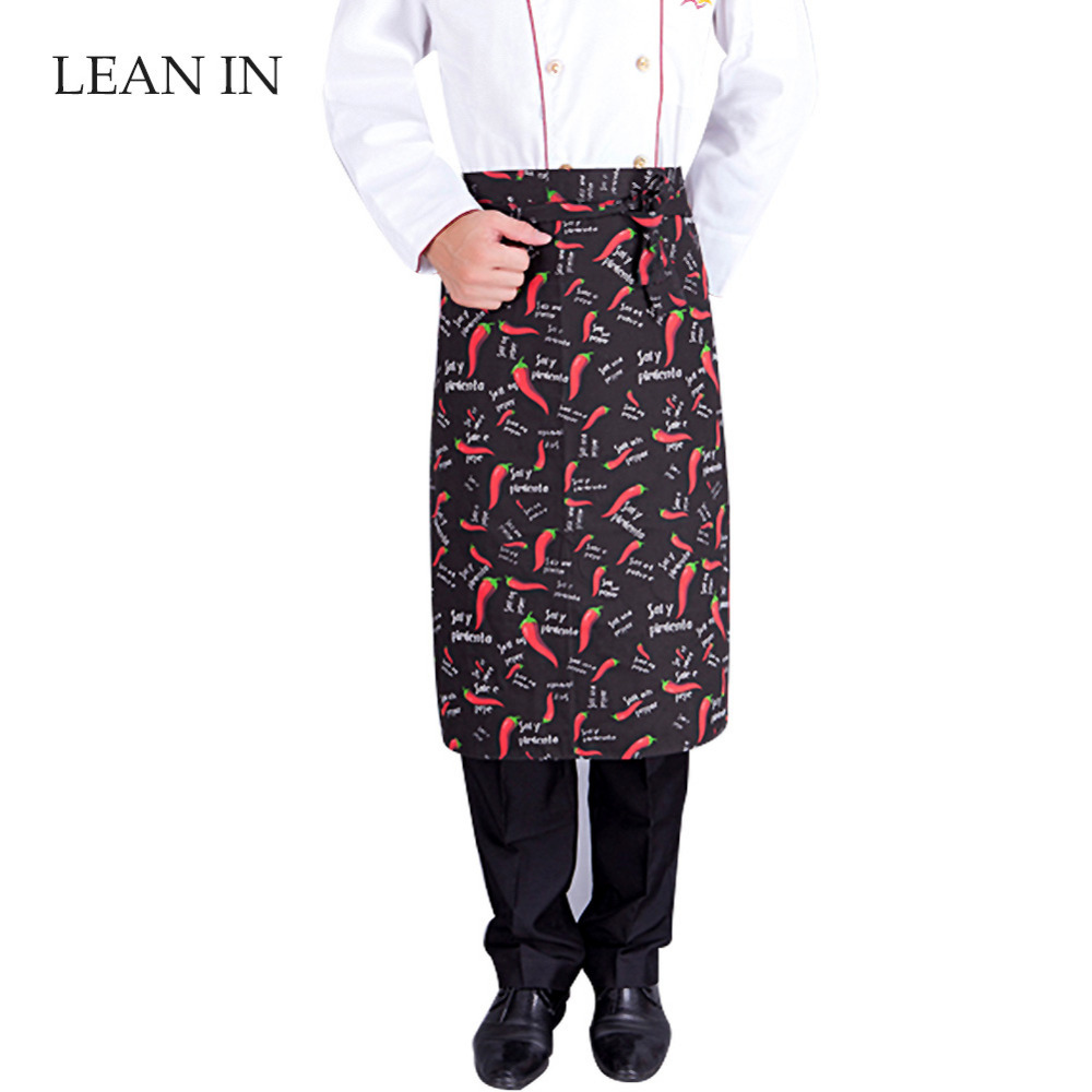 Lean In 1-Pocket Chef Bust Long Aprons Restaurant Kitchen Supplies,26.8-Inch Length by 24.8-Inch Width-Red pepper/Black(China (Mainland))