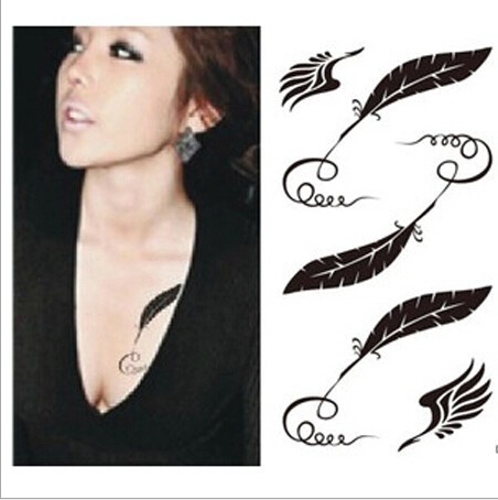 Sexy Women Leaves Shaped Temporary Tattoo, Joker Fashion Waterproof Temporary Tattoo Stickers Female Body Art Decal Sticker(China (Mainland))