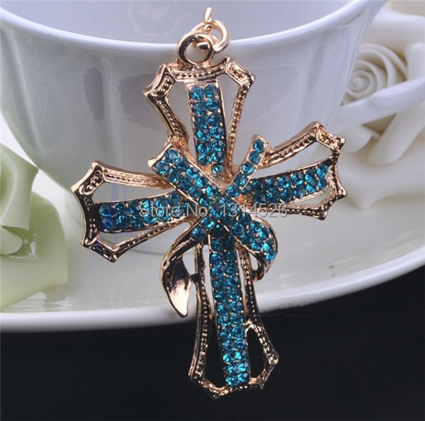 New Novelty Items Fashion Sparkle Blue Crystal Christianity Cross Keychain Keyring Trinket Gift Purse Bag Souvenir Jewelry SL069(China (Mainland))
