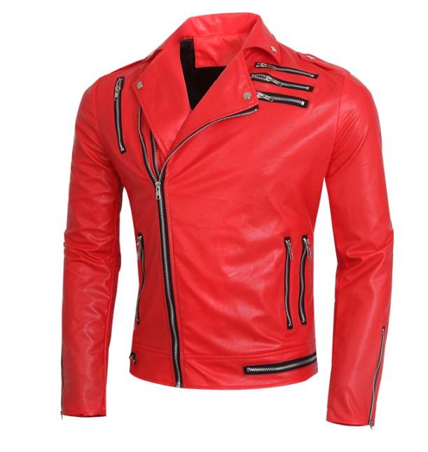 brand men jacket fashion multi zipper design Lapel motorcycle leather jacket coat men tight slim casual red/black leather jacket(China (Mainland))