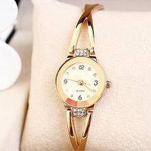 Mujeres de chapado en oro rosa pulsera Rhinestone de la aleación Dial redondo análogo de cuarzo reloj de pulsera 281X