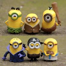 2015 New 6pcs/lot Minions New Model Cosplay Vampire & Primitive & Pirate 6cm Minion Action Figure Toys(China (Mainland))