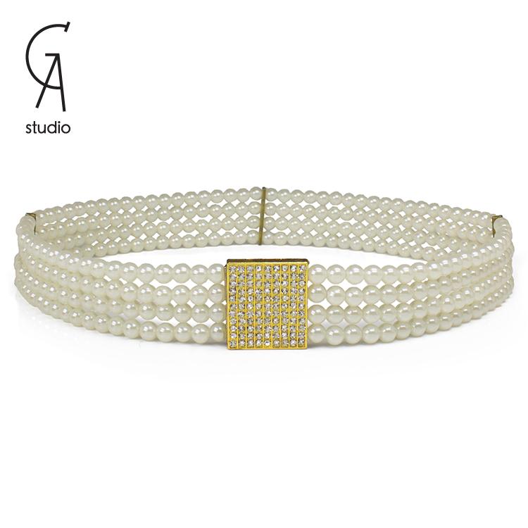Pearl belts female New Fashion Accessories boho Rhinestone Buckle Venetian beaded elastic Girdle belts for women girls 3 color(China (Mainland))