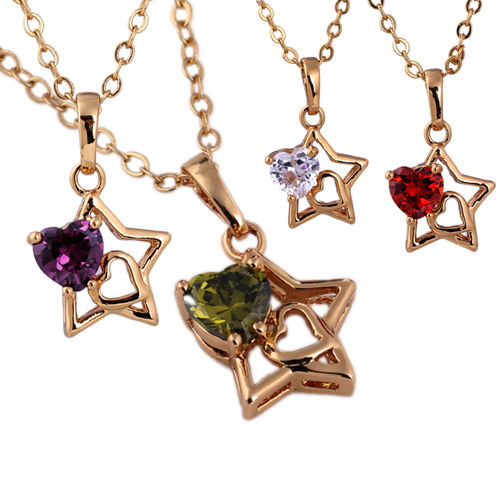 Hot Sale Women Star Shape Gold Plated Chain Heart Shape Artificial Crystal Pendant Necklace Shiny Rhinestone Necklace Hi(China (Mainland))