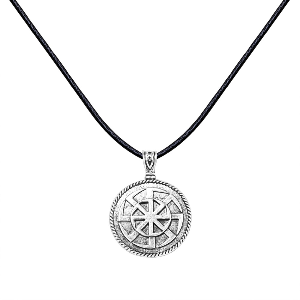Unique Antique Silver Sun Wheel Kolovrat Amulet Norse Jewelry Pagan Slavic Pendant Rope Necklace Christmas Gift for Men Women