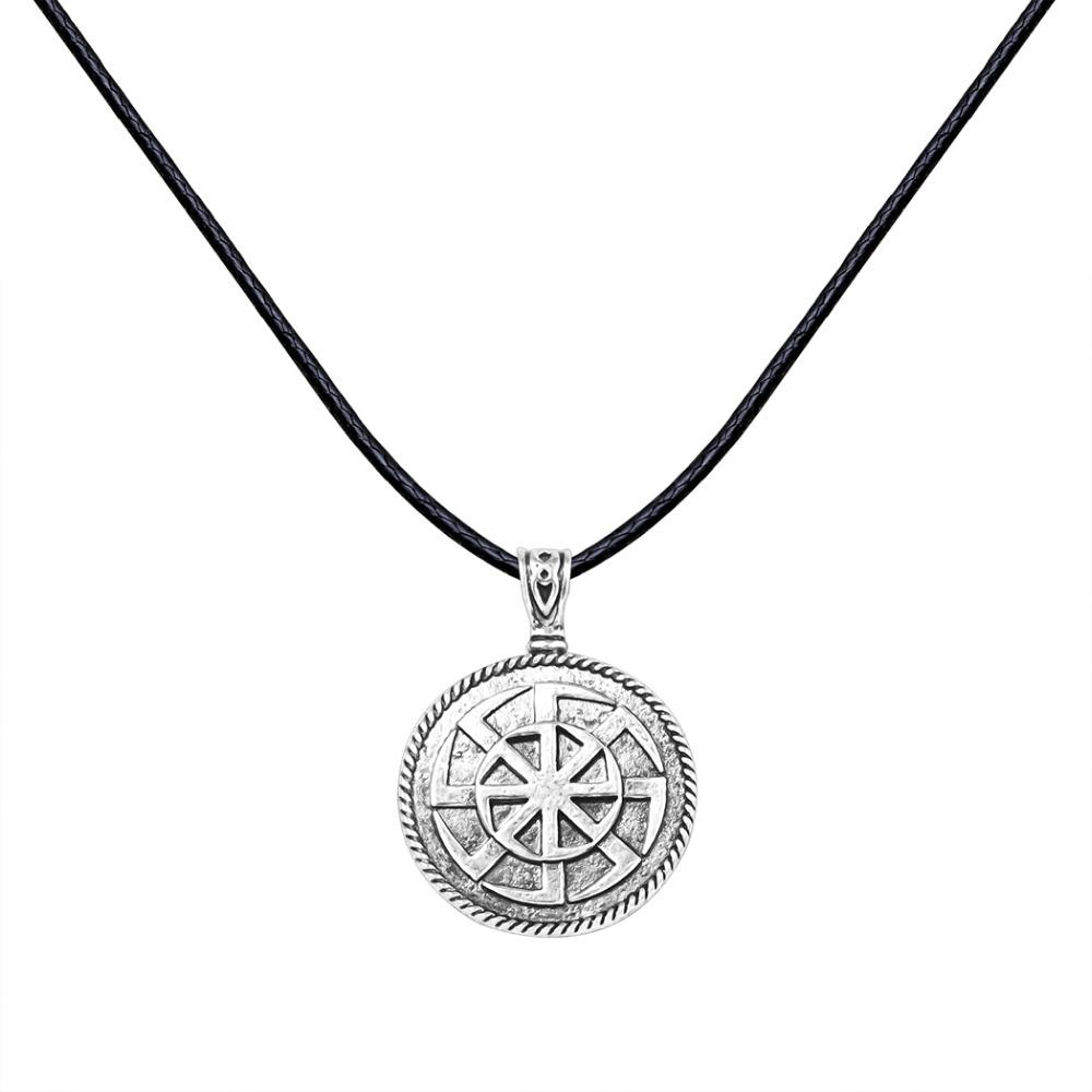 Unique Antique Silver Sun Wheel Kolovrat Amulet Norse Jewelry Pagan Slavic Pendant Rope Necklace Christmas Gift for Men Women