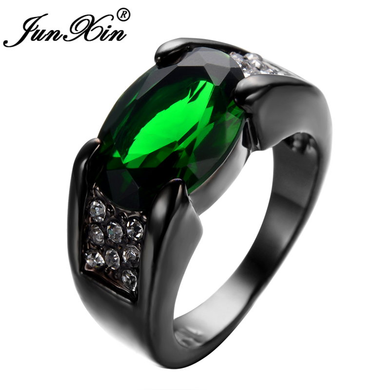 Wedding Rings For Male And Female Junxin Emerald Male Female Ring Black Gold Filled Vintage