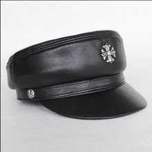 High quality Leather hat genuine winter leather hat student cap adjustable for menand women black hats Free Shipping(China (Mainland))