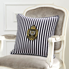 navy Style stripe Cushion Cover