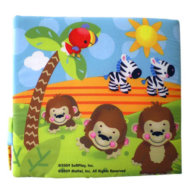 Baby educational intellectual development toys english animal counting 21 * 21cm 3D cloth book sound paper tear proof washable - Madge's store