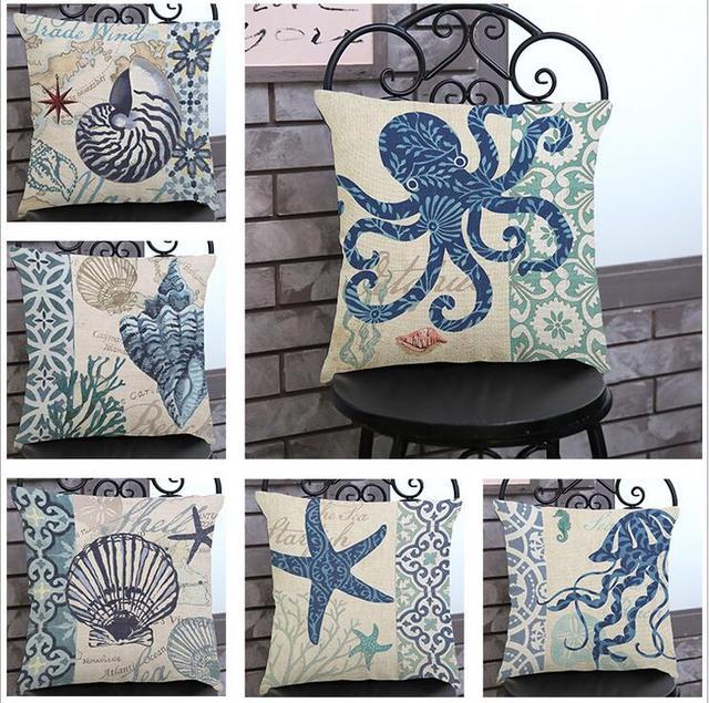 Белье хлопок Морской раковины серии чехлы домашнего декора-наволочка Домашний текстиль capas para almofadas