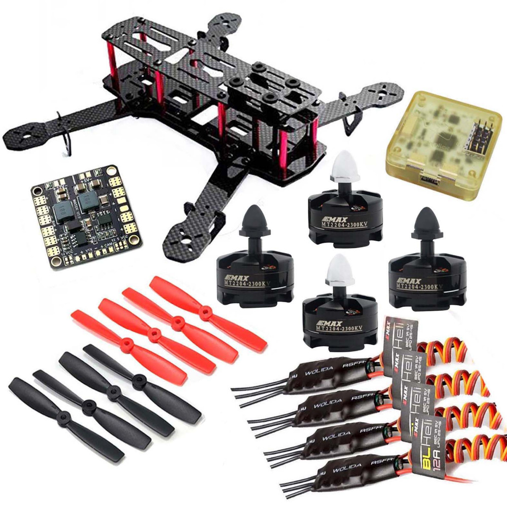 QAV250 Carbon Quadcopter MT2204 2300KV Motor BLHeli 12A ESC CC3D FC 5045 Props High Quality(China (Mainland))