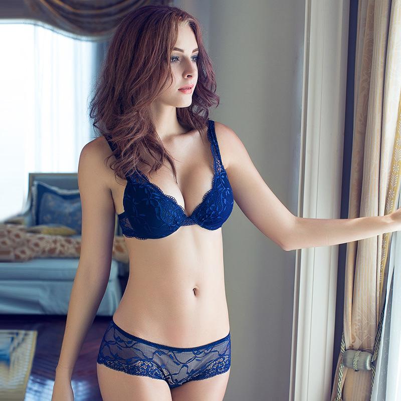 BFY-Free shipping 2015 Lady Brand Sexy Lace 3/4cup Lace Bra Set high-quality padded push up super gather bra underwear(China (Mainland))