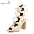 MEMUNIA big size 34 48 high heels sandals women fashion lace up slingbacks summer shoes leisure