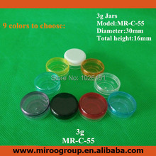 Free Shipping 200pcs/lot 3g mini nail polish oil cosmetic container jar  with 9 color lids, for uv gel gelee