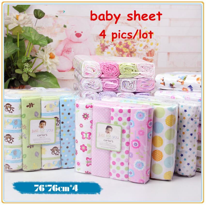4pcs/lot newborn baby bed sheet bedding 76x76cm set for newborn super soft crib cheap linen cot boy girl 100% cotton blanket(China (Mainland))