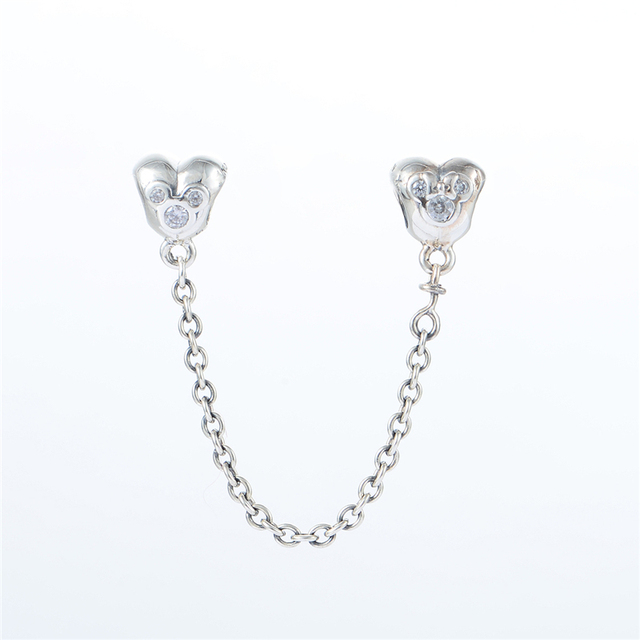 Подходит пандора браслеты в форме сердца микки цепи безопасности бусины ясно CZ серебряные бусины новый 100% серебро 925 очарование DIY ювелирных