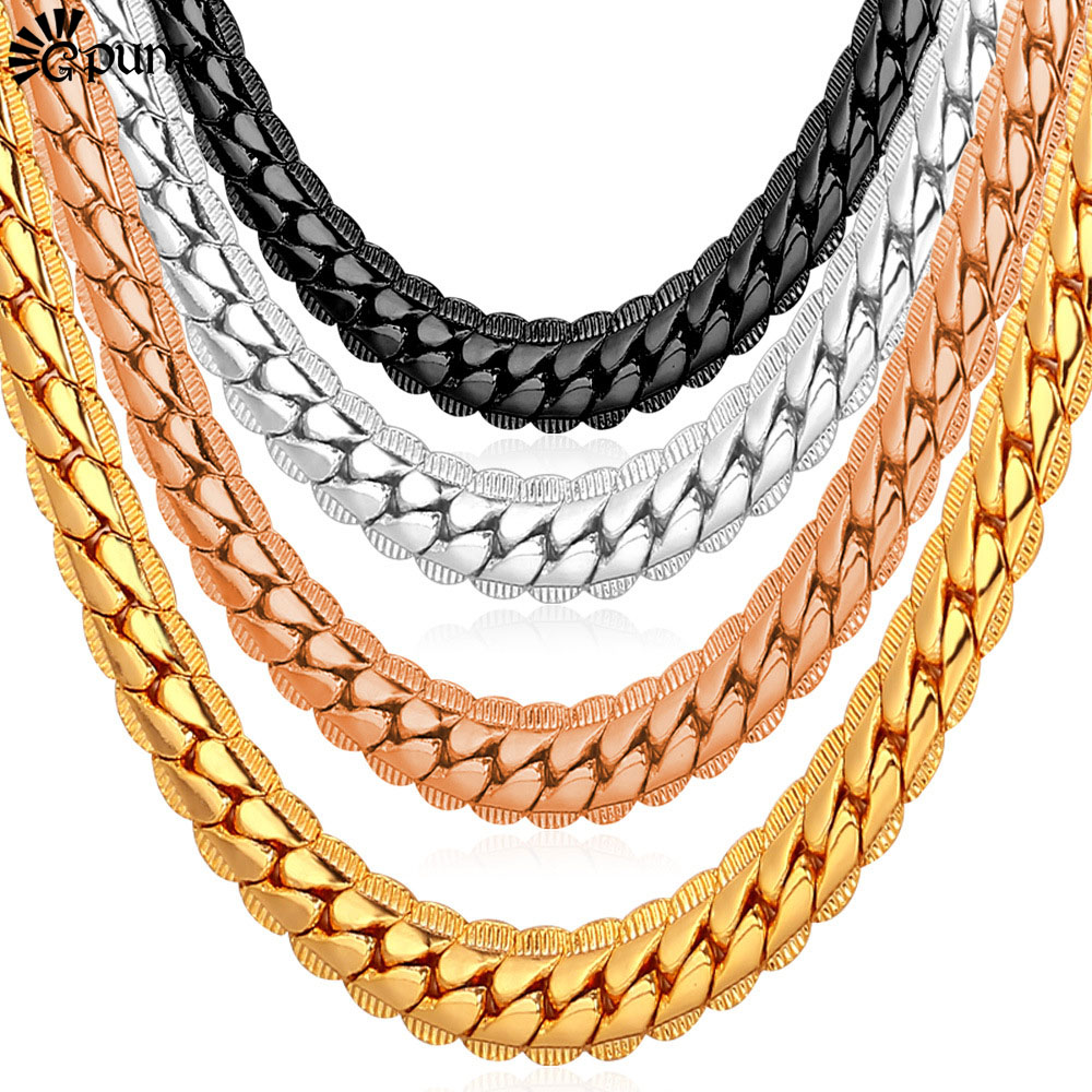 Men Gold Chain Necklace Punk 18K Gold/Rose Gold/Black Gun Plated Cuban Necklaces Men Statement Necklace jewelry N739G(China (Mainland))